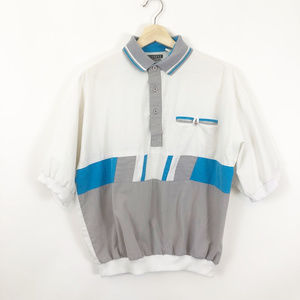 Vintage 80's Mens Button Up Collared Shirt, Medium